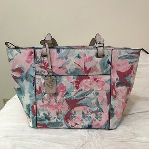Guess tote purse pink blue watercolor floral